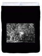 Trees On The Mall In Central Park In Black And White Duvet Cover by Rob Hans