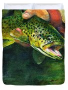 Trout In Hand Duvet Cover by John D Benson