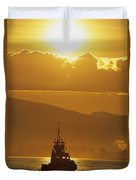 Tugboat At Sunrise, Burrard Inlet Duvet Cover by Ron Watts