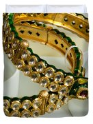 Two Green And Gold Bangles On Top Of Each Other Duvet Cover by Ashish Agarwal