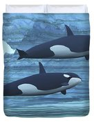 Two Killer Whales Swim Around Submerged Duvet Cover by Corey Ford