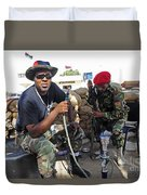 Two Rebel Fighters Man A Checkpoint Duvet Cover by Andrew Chittock