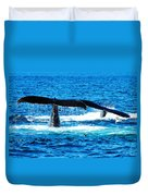 Two Whale Tails Duvet Cover by Paul Ge