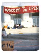 UC Berkeley . Sproul Hall . Sproul Plaza . Occupy UC Berkeley . The Is Just The Beginning . 7D10018 Duvet Cover by Wingsdomain Art and Photography
