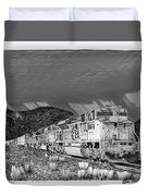 Union Pacific Diesels And Monsoon Duvet Cover by Jack Pumphrey