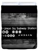 Union Square Subway Station Bw Duvet Cover by Susan Candelario
