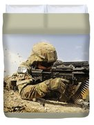 U.s. Air Force Soldier Fires The Mk48 Duvet Cover by Stocktrek Images