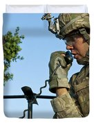 U.s. Army Soldier Calls For Indirect Duvet Cover by Stocktrek Images
