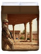 U.s. Army Soldier Pulls Security Duvet Cover by Stocktrek Images