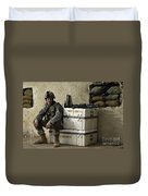U.s. Army Soldier Relaxing Before Going Duvet Cover by Stocktrek Images