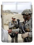 U.s. Army Soldier Shakes Hands With An Duvet Cover by Stocktrek Images