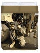 U.s. Army Soldiers Providing Overwatch Duvet Cover by Stocktrek Images