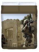 U.s. Army Soldiers Reacting To Small Duvet Cover by Stocktrek Images