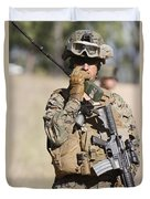U.s. Marine Radios His Units Movements Duvet Cover by Stocktrek Images