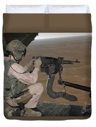 U.s. Marine Test Firing An M240 Heavy Duvet Cover by Stocktrek Images