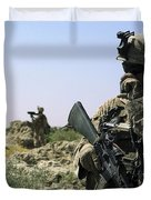 U.s. Marine Uses A Radio Duvet Cover by Stocktrek Images