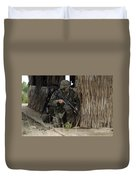 U.s. Marines Prepare To Enter A House Duvet Cover by Stocktrek Images
