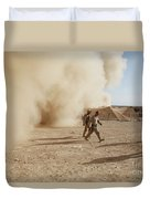 U.s. Marines Walk Away From A Dust Duvet Cover by Stocktrek Images