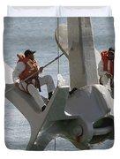 U.s. Navy Servicemen Apply A Coat Duvet Cover by Stocktrek Images