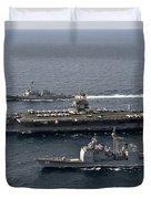 U.s. Navy Ships Transit The Atlantic Duvet Cover by Stocktrek Images