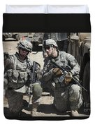 U.s. Soldiers Coordinate Security Duvet Cover by Stocktrek Images