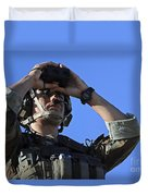 U.s. Special Operations Soldier Looks Duvet Cover by Stocktrek Images