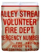 VALLEY STREAM FIRE DEPARTMENT Duvet Cover by ROB HANS