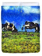 Van Gogh Goes Cow Tipping 7d3290 Duvet Cover by Wingsdomain Art and Photography