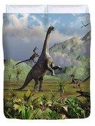 Velociraptor Dinosaurs Attack Duvet Cover by Mark Stevenson