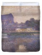 Vernon Church in Fog Duvet Cover by Claude Monet
