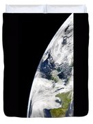 View Of Earth From Space Showing Duvet Cover by Stocktrek Images