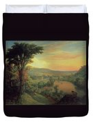 View Of The Mohawk Near Little Falls Duvet Cover by Mannevillette Elihu Dearing Brown