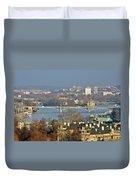 Vltava River In Prague - Tricky Laziness Duvet Cover by Christine Till