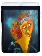 Waiting For Partner Orange Woman Blue Cubist Face Torso Tinted Hair Bold Eyes Neck Flower On Dress Duvet Cover by Rachel Hershkovitz