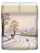 Walk In The Snow Duvet Cover by Lavinia Hamer