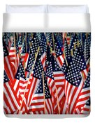 Wall Of Us Flags Duvet Cover by Carolyn Marshall