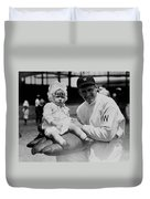 Walter Johnson Holding A Baby - C 1924 Duvet Cover by International  Images