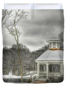 Warm Gazebo On A Cold Day Duvet Cover by Brett Engle