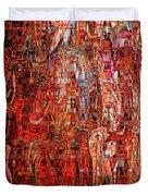 Warm Meets Cool - Abstract Art Duvet Cover by Carol Groenen