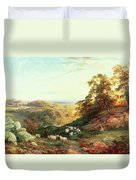 Watching The Flock Duvet Cover by George Vicat Cole