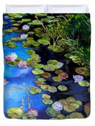 Water Lilies On Blue Duvet Cover by Diane Kraudelt