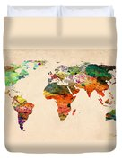 Watercolor World Map  Duvet Cover by Mark Ashkenazi