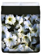 White Flowers At Dusk Duvet Cover by Sumit Mehndiratta