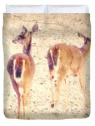 White Tails In The Snow Duvet Cover by Amy Tyler
