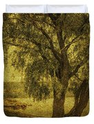 Willow At The Lake. Golden Green Series Duvet Cover by Jenny Rainbow