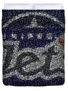 Winnipeg Jets Puck Mosaic Duvet Cover by Paul Van Scott