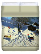 Winter Hillside Morzine France Duvet Cover by Andrew Macara