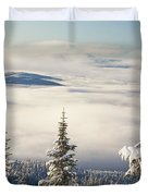 Winter Landscape With Clouds And Duvet Cover by Craig Tuttle