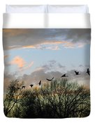 Winter Sunset  Silhouette Duvet Cover by Brian Wallace