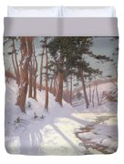 Winter Woodland With A Stream Duvet Cover by James MacLaren